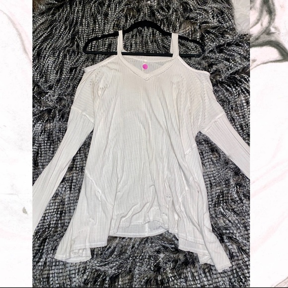 Sage Tops - Women's Cold Shoulder White Long Sleeve Top